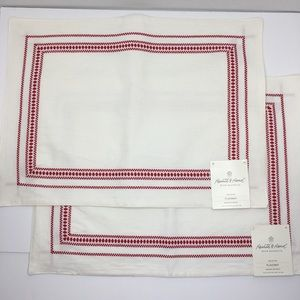 Hearth & Hand 2 placemats embroidered border